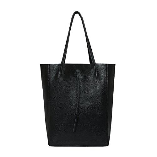 SKUTARI Original Vittoria Classic Shopper, Laptop- und Einkaufstasche aus echtem Leder mit extra langen Griffen und Reißverschlussinnentasche, handgefertigt in Italien | Schwarz, 36 x 38 x 13 cm -