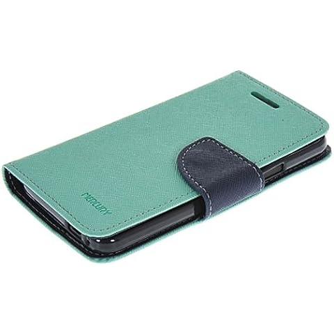 HTC One M7 Custodia,COOLKE [Menta] Flip Case Cover Due Colori Style Design in Pelle Protettiva Custodia per HTC One M7