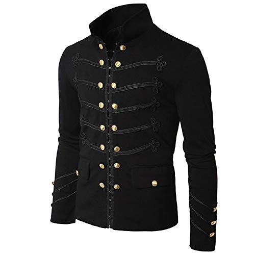 NPRADLA 2018 Jacke Herren Slim Fit Mantel Gothic Sticken Knopf Mantel Uniform Kostüm Party Oberbekleidung(3XL/44,Schwarz)