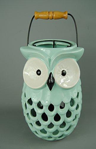 Große Witzige mint grün Keramik Eule Laterne mit Griff und ziehen bis Kerze Gehäuse -