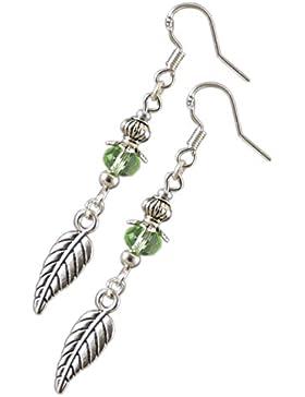 Katharina Fairytale Damen Mädchen Ohrringe der Waldelfe grüne Perle Ohrhaken aus 925er Sterling Silber