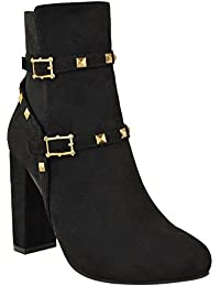 Fashion Thirsty New Womens Ladies Studded Block High Heel Ankle Boots Zip Punk Party Shoes Size
