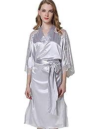 081189a3e Mini Balabala Kimono Mujer Bata para Satén Mujer Ropa de Dormir Batas