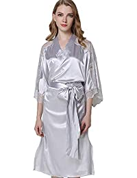 Mini Balabala Kimono Mujer Bata para Satén Mujer Ropa de Dormir Batas