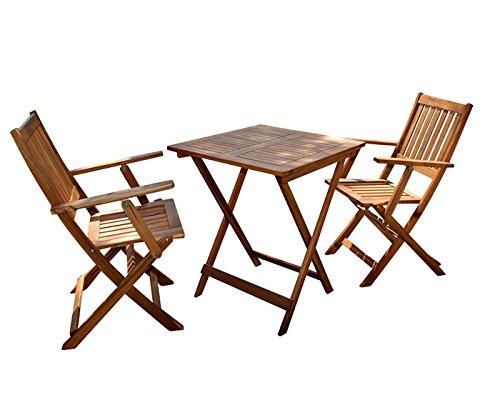 SAM Robuste Garten-Tischgruppe Camelia 3tlg. aus Akazienholz, bestehend aus 1 x Tisch + 2 x...