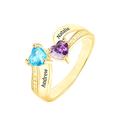 (Y.Verve Personalisierte Damen Ring mit 2 Name 2 Geburtsstein Gravur 925 Sterling Silber Geschenkidee für Valentine Jahrestag Geburtstag(14 Karat vergoldet 16.5))