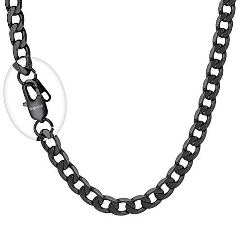 PROSTEEL Herren Kette 6mm breit Panzerkette Halskette 55cm/22 in. schwarz Edelstahl Gliederkette mit personalisiert Verschluss trendig Schmuck für Jungen (Halsketten Für Jungen)