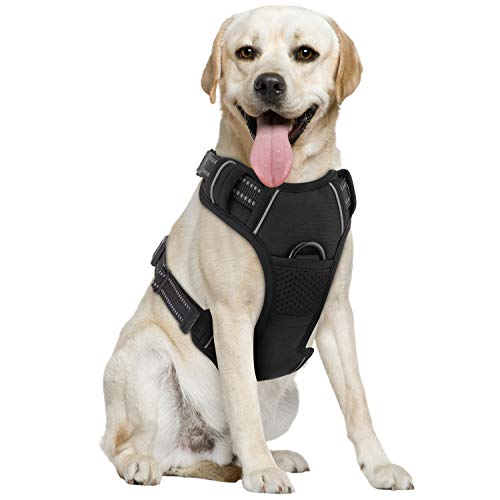 Pawaboo Dog Harness, No Pull Design Pet Vest Harness, Soft Padded Reflective Oxford, Adjustable Straps Easy Control for Small Medium Large Dogs, Black (Front-pull-harness)