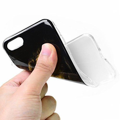 SMART LEGEND iPhone 7 Weiche Silikon Hülle Bumper Schutzhülle Transparent Rahmen Hülle mit Cool Löwe Muster Handyhülle Crystal Kirstall Clear Etui Ultra Slim Design Glatt Durchsichtig Weich TPU Handy  Löwe