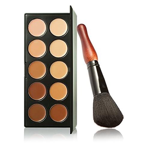 Pure Vie® 1 Stück Make Up Pinsel + 10 Farben Concealer Abdeckcreme Camouflage Palette Cover Abdeck Makeup