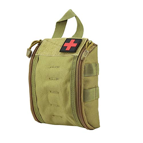 JohnJohnsen Outdoor Portable First Aid Bag Tactical Medical Case Multifunctional Waist Pack Camping Climbing Emergency Bag Survival Kit(Army mud Green)
