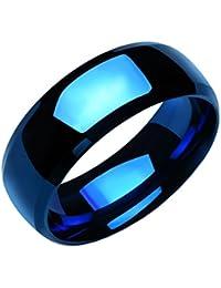 UM Joyería Suave Hombres Mujer Acero inoxidable anillos Banda para parejas Azul Tono
