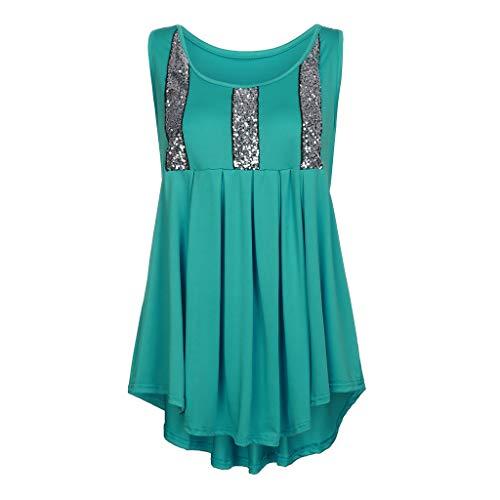 Wawer Damen Top 💕 Frauen O-Neck Plus Size Pailletten ärmellose Weste Saum Bluse Easy Top Shirt, Tank Tops Weste Flacher Kragen Sieben Farben optional