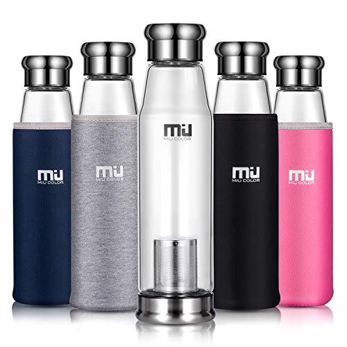 & # x2605; Party von Mom Reduzierung & # x2605; Miu Color® Flasche aus Borosilikatglas tragbar Flasche Auto mit Muffe Neopren (700ml)