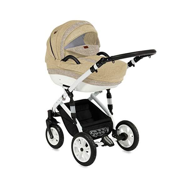 Lorelli Mia 3 in 1 Pneumatic tyre Pushchair, car seat, Baby Bath, Sports seat, Colour:Beige Lorelli matching easy to assemble car seat, baby bath, sports seat, mosquito protection, rain cover and diaper bag included in the scope of delivery Pneumatic tires (rubber tires) and suspension for easier driving easily foldable - adjustable and extendable sunroof with window and bag 2