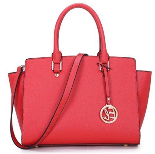 LeahWard® Damen Mode Essener Berühmtheit Tote Handtasche mit Charme Schnell verkaufend Modisch Kreuzbeutel CWD0031 Red