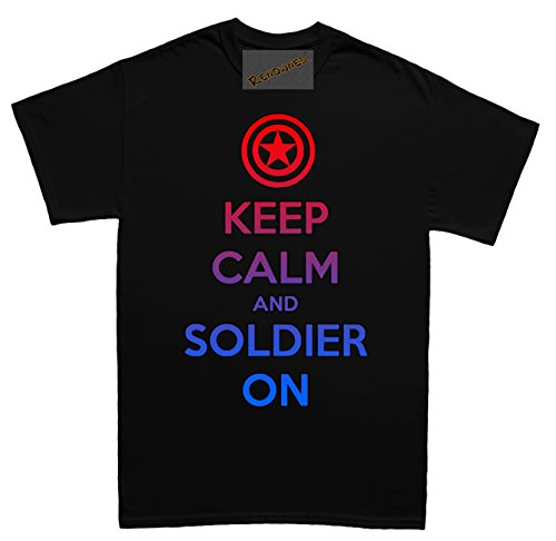 Renowned Keep calm and soldier on Unisex - Kinder T Shirt Schwarz