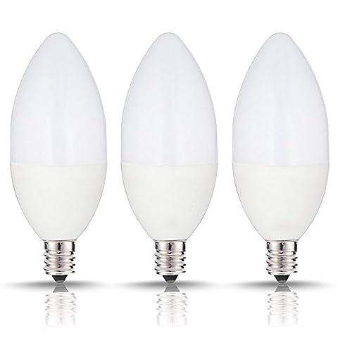 evaric Candelabra Triac Ampoule cristal à LED 6W Ampoule à incandescence, E12Chandelier Base 3pcs, 85–265V, 500lm, 2700–3200K LED, forme Torpedo, argent blanc chaud Weiß
