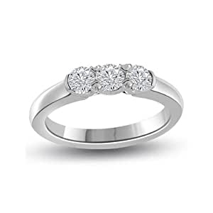 0.60ct G/VS1 Diamond Trilogy Promise Ring for Women with Round Brilliant cut diamonds in 18ct White Gold