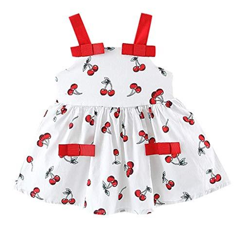 Julhold - Vestido de Princesa para niños pequeños, bebé, niña, sin Mangas, Cereza, Impreso, para Fiestas, Informal, Diario Blanco 12-18 Meses