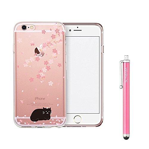 Coque iPhone 7 Housse étui-Case Transparent Liquid Crystal Mandala en TPU Silicone Clair,Protection Ultra Mince Premium,Coque Prime pour iPhone 7 (2016)-les sorcières chat noir