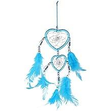 Plumas Azules Hechas A Mano De La Pared Doble Atrapasueños Corazón Decoración Colgante