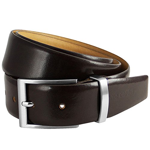 Pierre Cardin Mens leather belt / Mens belt, leather belt curved with metal loop, dark brown, Farbe / Color:marron, Size:100