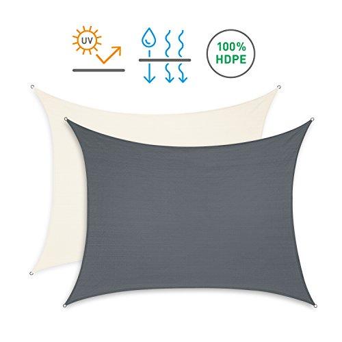 Minuma Sonnensegel | Wetterschutzsegel | Windschutz | Wetterschutz | Sichtschutz | Witterungsschutz | Sonnenschutz - wetterbeständig und mit UV-Schutz | Rechteck 2 x 3 m, anthrazit