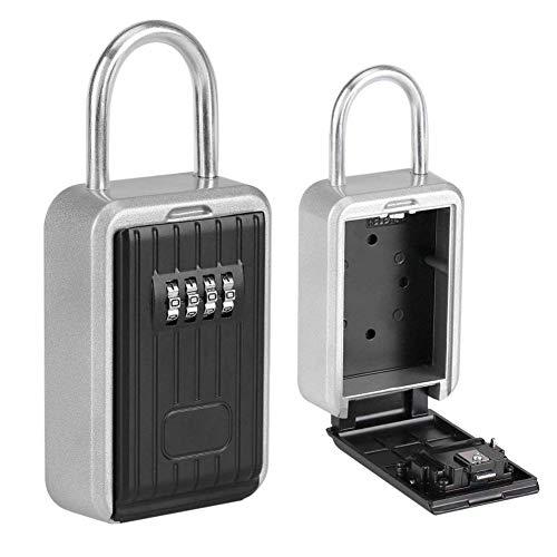 ZhiQli Schlüsseltresor Schlüsselsafe für Aussen mit 4-Stelliges Zahlencode Zinklegierung Wetterfest Kombination Schlüsselbox Innen Wandmontage für Fabrik, Dekorationsfirma, Büros und Garagen