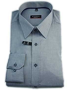 ETERNA Herren Langarm Hemd Modern Fit blau / grau strukturiert 8551.17.X198