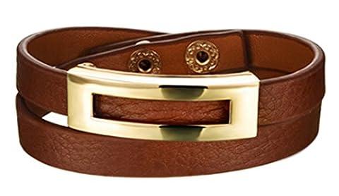 SaySure - Leather Wrap Bracelets Casual Black/Brown/Leopard