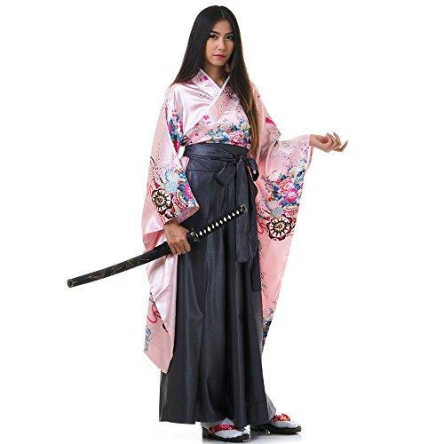 Princess of Asia Japan Damen Geisha Samurai Kimono Outfit Kostüm S M 36 38 40 (Rosa & Grau) Pink Princess Outfit