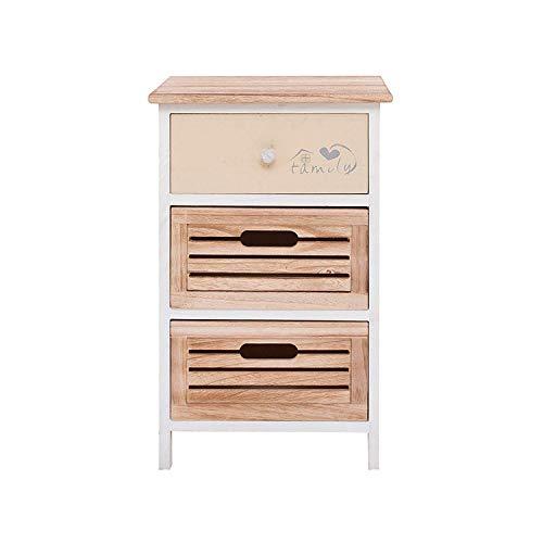 Rebecca mobili comodino mobile bagno 3 cassetti legno paulownia bianco beige country rustico camera bagno (cod. re4340)