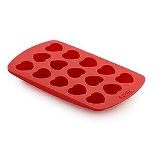 Lékué 0217415R01M017 Moule à Chocolats de 15 Pièces Forme de coeur Silicone Rouge