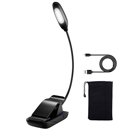 LED Buchlampe,TOPELEK LED Leselampe Klemmleuchten, USB wiederaufladbar Leselampe mit 4 LEDs,Schreibtischleuchte, Notenständer lampe, Augenschutz Helligkeit, Beleuchten mit LED-Betriebsanzeige, USB-Ladekabel und Aufbewahrungstasche für Kindle, Buch, Computer.