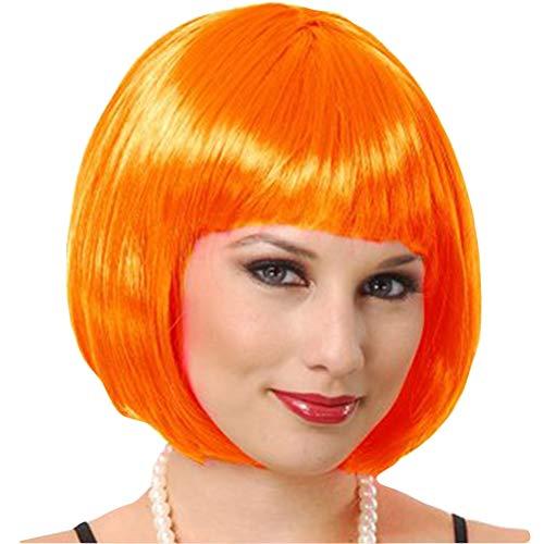 Demarkt Perücke kurz Glatt Bob Perücke Wigs mit Pony Karneval Cosplay Halloween (Orange)