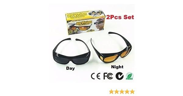 97b6279e50e HD Vision Driving Anti Glare Wrap Around Sunglasses 1 Set 2 Pcs (Black+Brown)   Amazon.in  Sports