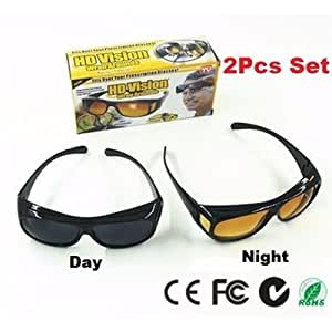 c7cd3d1f437 ... HD Vision Driving Anti Glare Wrap Around Sunglasses 1 Set 2 Pcs (Black+ Brown)