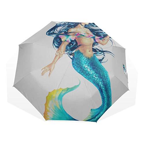 Reiseregenschirm Beautiful Shining Fantasty Mermaids Anti Uv Compact 3-Fach Kunst Leichte Faltschirme (Außendruck) Winddicht Regen Sonnenschutzschirme Für Frauen Mädchen Kinder -