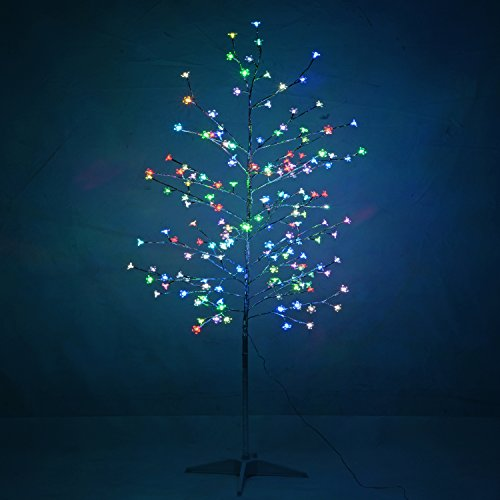 WeRChristmas Pre-Lit Flower LED Twig Tree with Frosted Balls, 6 ft /1.8 m - Multi-Colour