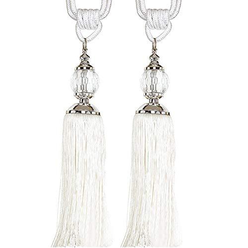 Leisuretime 1 Paar Kristall Quaste Vorhänge Raffhalter Seil Vorhänge Buckle Holdbacks Raffhalter/Quaste Fenster Baumwolle Seil Tie Ball (White) -