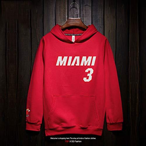 Felpa Da Uomo Miami Heat # 3 Dwyane Tyrone Wade Jr. Maglia Da Allenamento Di Basket Hip Hop Loose Street Dance T-shirt Sportiva Casual