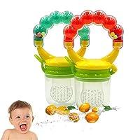 Baby Food Fruit Feeder 2 Pack, LANSERM Silicone Feeder Shake Rattle Teething Toy Teether