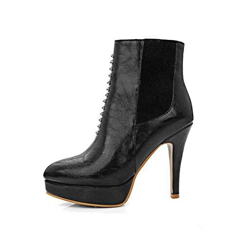 AllhqFashion Damen Weiches Material Reißverschluss Niedrig-Spitze Stiefel mit Metallisch, Schwarz, 37