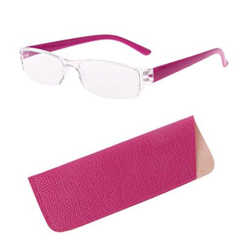 Wiffe Leichte klare, schlanke Mode randlose Lesebrille 1.00-4.00 Dioptrien Eyewear mit Ledertasche (Rot, 2.50)