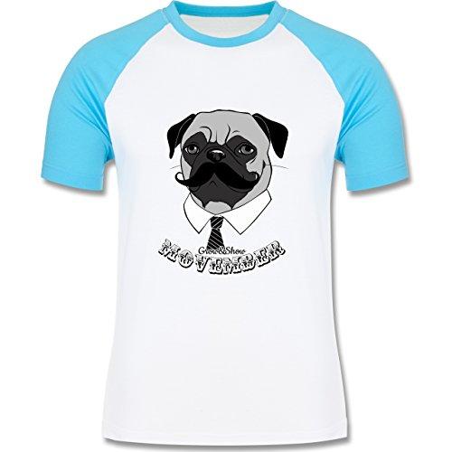 Statement Shirts - Movember Mops - zweifarbiges Baseballshirt für Männer Weiß/Türkis
