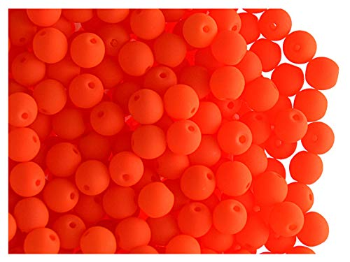 100pcs Tchèque Verre Pressé Perles ESTRELA NEON (UV Active) Ronde 4mm Orange