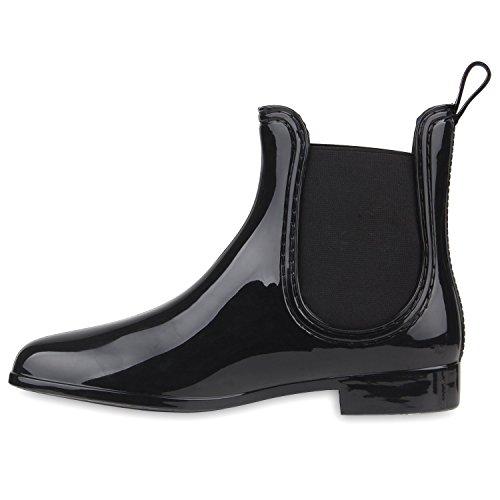 Regenschuhe Damen   Gummistiefel mit Block Absatz   Chelsea Boots   Gr. 36-41 Schwarz