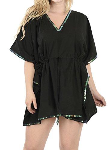 LA LEELA verschleiern Strand weicher Viskose Vintage Kimono Hemd lässig Kleid Damen Plus Größe Bluse Boho Bad Kleid Damen Plus Größe Kaftan Frauen schwarz
