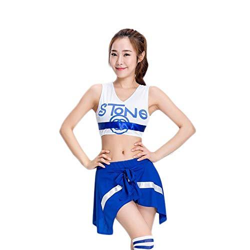 Idole Musik Kostüm - MCO%SISTSR Cheerleader-Kostüm,Mädchen Cheerleading Uniform Kleid Fußball Baby Shorts High School Musik Kostüm Sport Performance Show,Blau,S